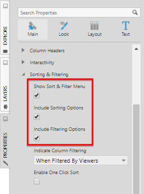 Sort and Filter menu properties