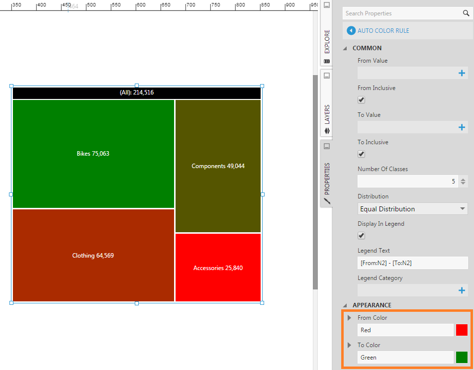Editing the Auto Color Rule for a treemap