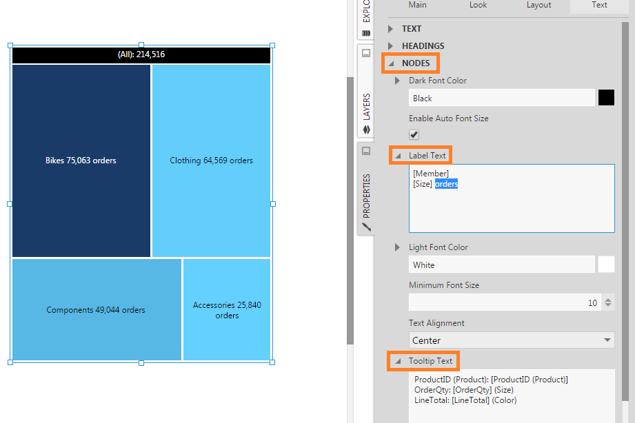 Label Text and Tooltip Text properties for treemap nodes
