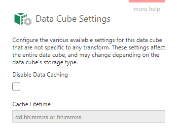Change data caching for a data cube