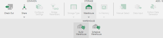 Building warehouse storage from the data cube toolbar