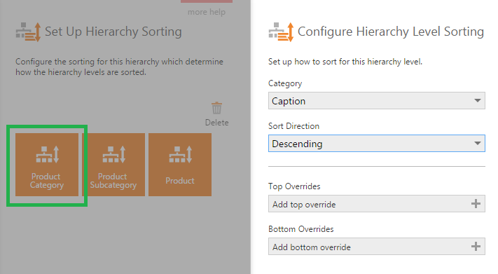 Configure Hierarchy Level Sorting dialog