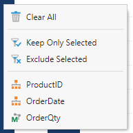 Context menu filter options