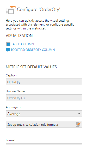 Measure settings dialog