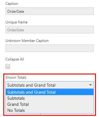 Showing and hiding totals for a hierarchy