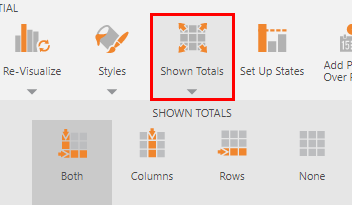 Showing and hiding totals in the toolbar