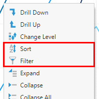 Sorting and filtering from the context menu