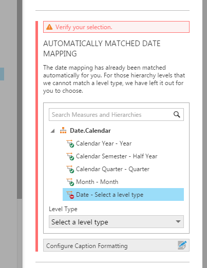 OLAP Date level needs to be matched manually
