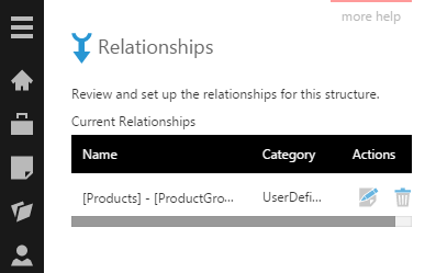 A user-defined relationship is added to the list
