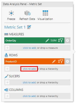 Move ProductID to Rows and click to add attributes