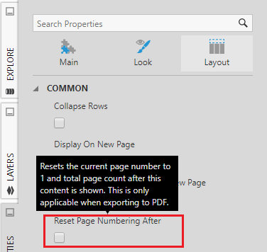 Reset page number after property