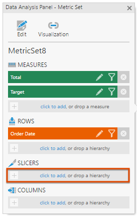 Click to add a slicer hierarchy