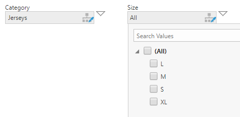 The available size options determined by the selected category