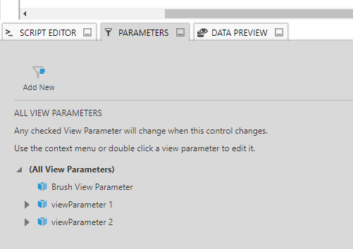 Parameters window showing the view parameters for two filters