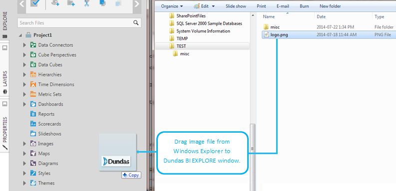 Drag image file to the EXPLORE window (Chrome browser)