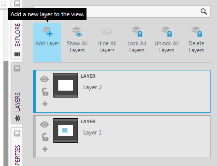 Layer 2 is added and becomes the current layer