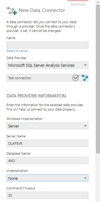 Data connector settings for SSAS