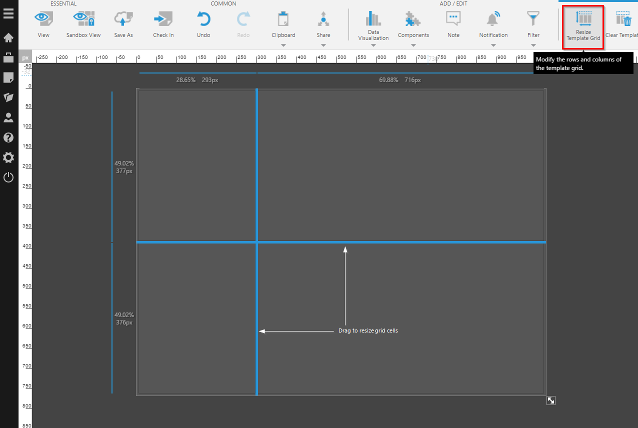 Resizing the template grid