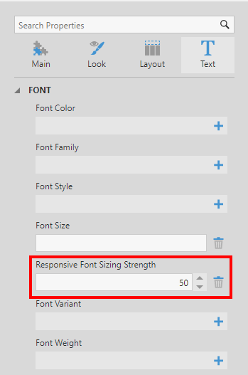 Responsive font sizing strength