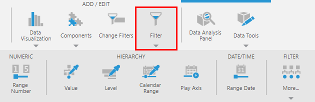 Adding filters to the parameter bar