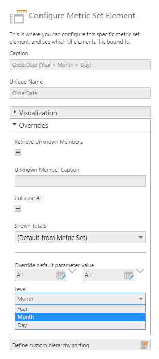 Configure Metric Set Element dialog