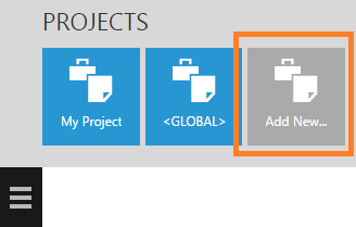 Add a new project from the Projects toolbar