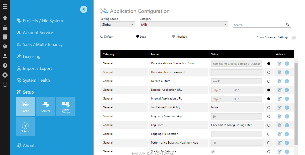 The application configuration settings screen in the admin screen of Dundas BI.