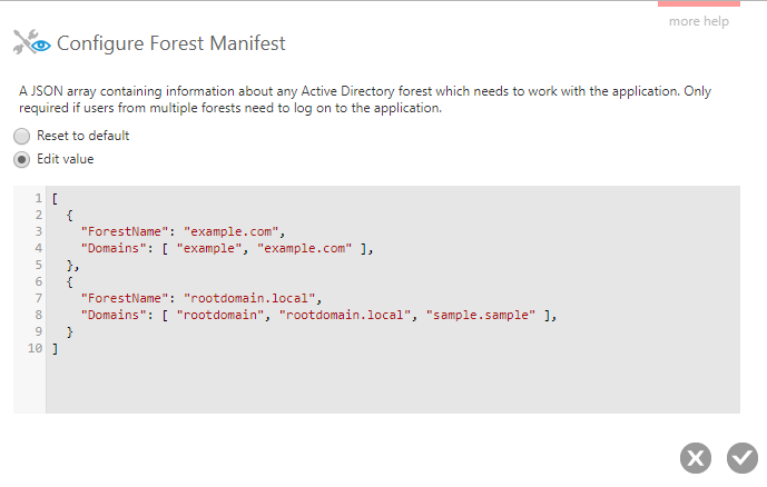 Manifest example with two forests
