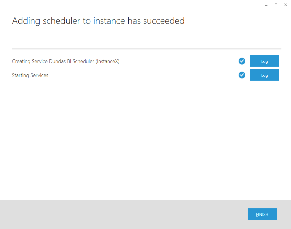 Adding scheduler to instance has completed.