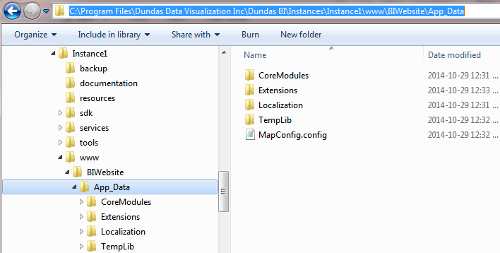 App_Data folder containing extensions