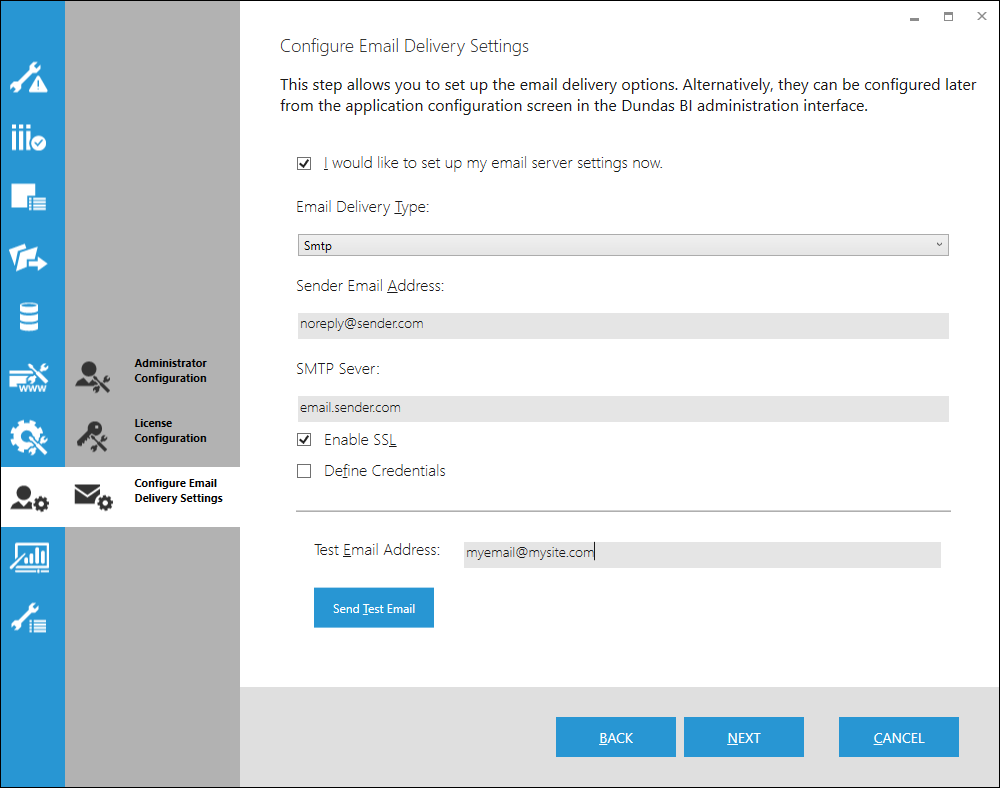 The configure email delivery screen