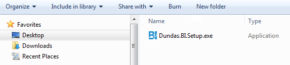 Dundas BI Setup program