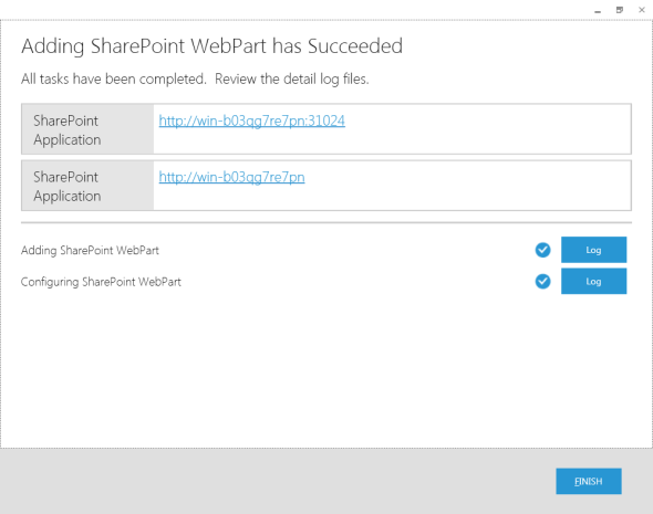 Adding SharePoint Web Part has Succeeded