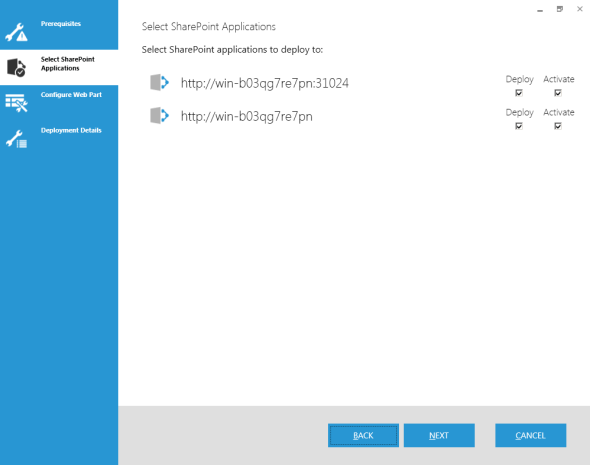 Select SharePoint Applications