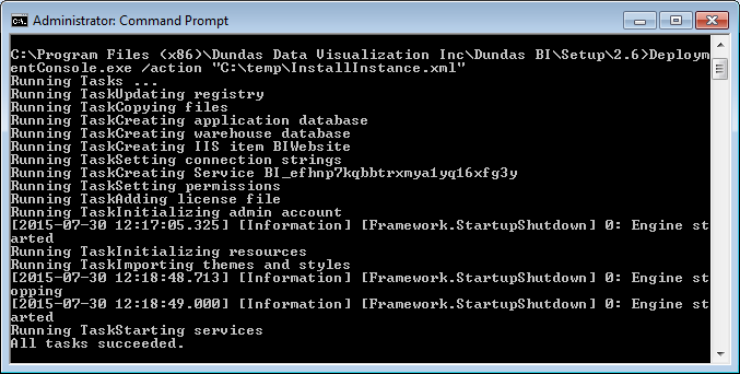 The Deployment Console installing an instance