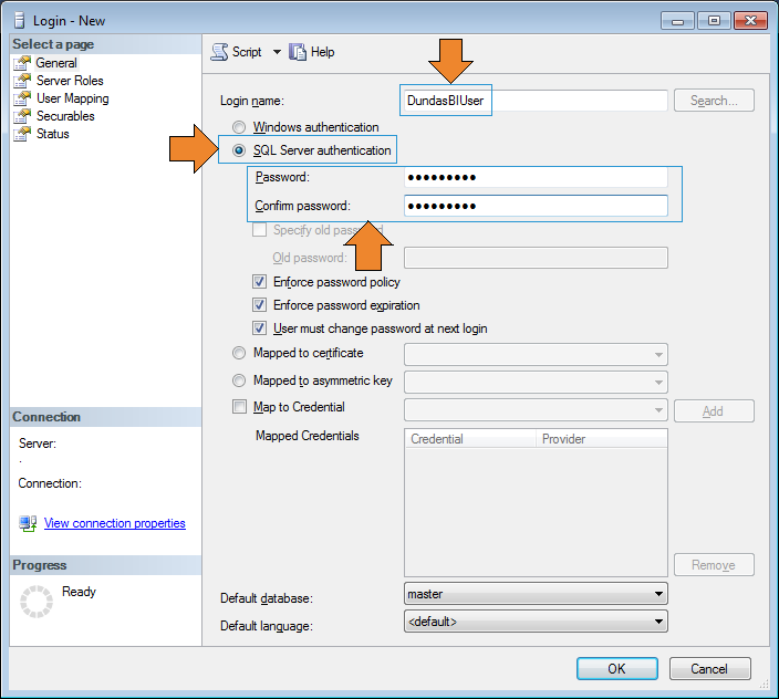 Create SQL Server authentication login.