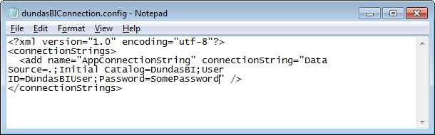 Updated application database connection string in Dundas BI.