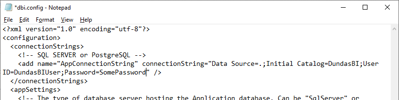 Updated application database connection string