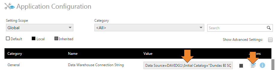 Updating the warehouse connection string in the Dundas BI user interface.