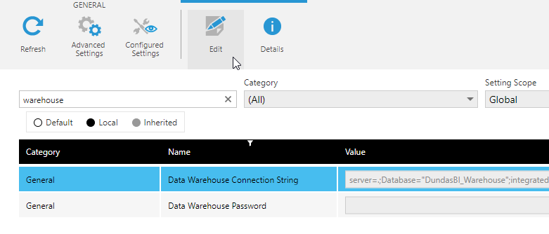Updating the warehouse connection string in Dundas BI