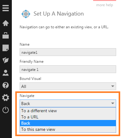 Navigate interaction to go back