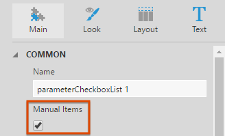Select the Manual Items property of a checkbox filter