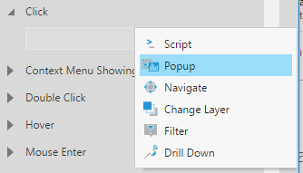 Selecting the Pop-up option