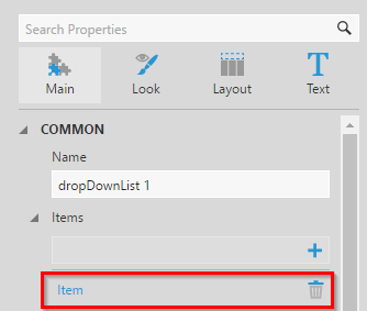 Configuring the first dropdown item
