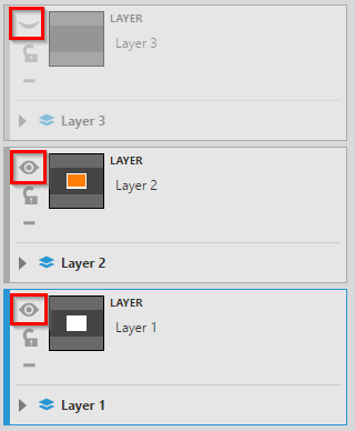 Setting the visibility of the layers