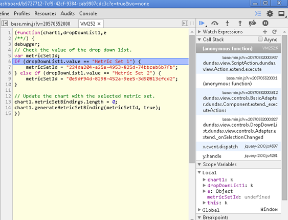 Debugging a script using Chrome