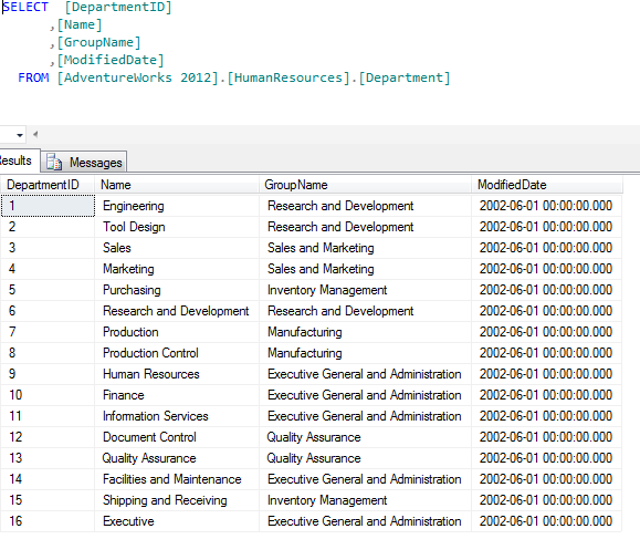 Lookup Table: HumanResources.Department
