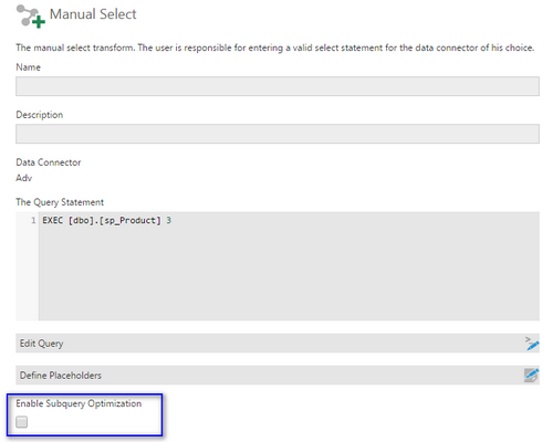 Manual select using a stored procedure