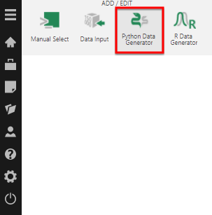 Add the Python Data Generator transform from the toolbar