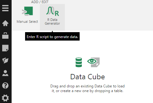 Add the R Data Generator transform from the toolbar